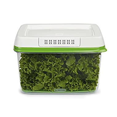 Rubbermaid FreshWorks Produce Saver Food Storage Container, Large, 17.3 Cup, Green