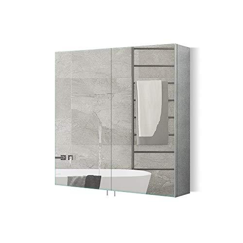 Qiyang spiegelschrank Bad 60 cm breit hängeschrank Bad Aus Edelstahl Badezimmer-spiegelschrank badspiegel mit ablage Doppeltüren 600 x 660 x 120 MM