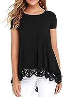 QIXING Women's Tops Short Sleeve/Long Sleeve Lace Trim O-Neck A Line Tunic Blouse