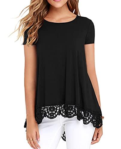 QIXING Women's Tops Short Sleeve Lace Trim O-Neck A Line Tunic Blouse Black-X-Large