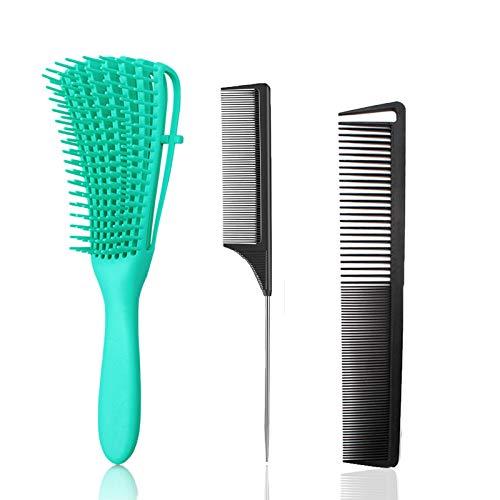 Juego de cepillos desenredadores para el cabello, cepillo desenredante para mujeres, pelo rizado ondulado de 3a a 4c, seco y húmedo, con peine de dientes finos/anchos y peine de cola de rata, 3 pc