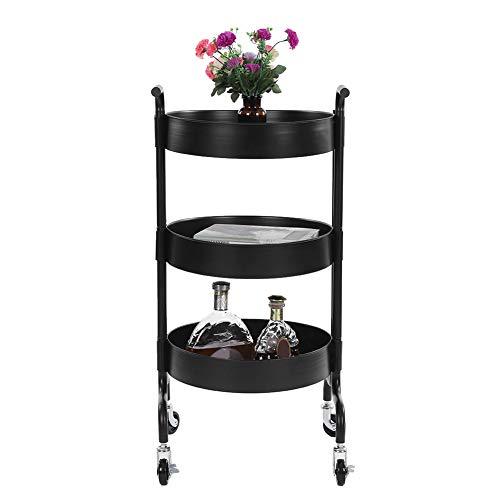Carrito de almacenamiento de 3 niveles de metal para cocina, baño, carrito de almacenamiento con rueda,negro 92,2 x 44 x 36,5 cm