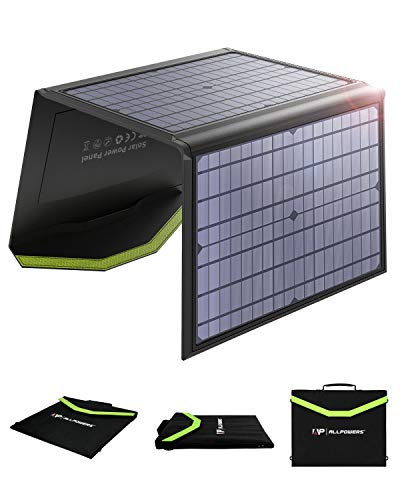 ALLPOWERS 60W Monocrystalline Solar Panel Foldable Solar Charger Dual 5V USB 18V DC Output Waterproof for Laptop Smart Phone Tablet Camera Power Bank and Camping Travel