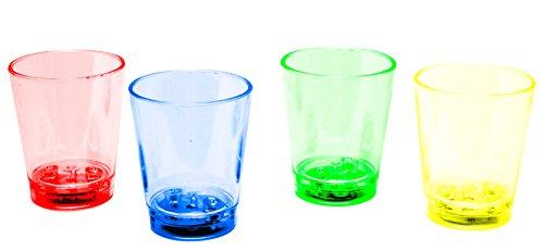 LED-Highlights Glas Becher Schnapsglas 60 ml 4er Set Schnapsgläser beleuchtet bunt gemischt LED rot blau grün gelb Bar Partyglas Kunststoff Trinkglas mit Batterie