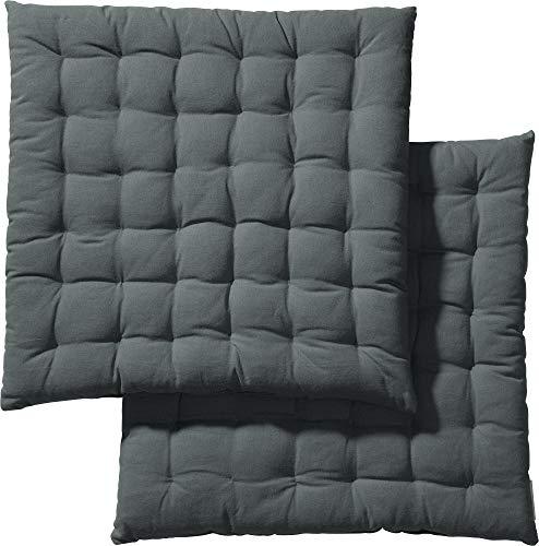 REDBEST Stuhlkissen, Stuhlauflage, Sitzkissen Uni 2er-Pack grau, Größe 40x40x3 cm - gesteppt, mit glatten, strapazierstarkem Gewebe, 100% Baumwolle (weitere Farben)