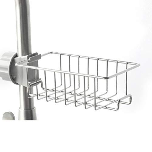 Ysoom Duschablage zum Hängen aus Edelstahl, ohne Bohren zu montieren mit Haken Schwammhalter Seifenkorb Seifenhalter für alle Durchmesser von 20-25mm Runde Duschstange