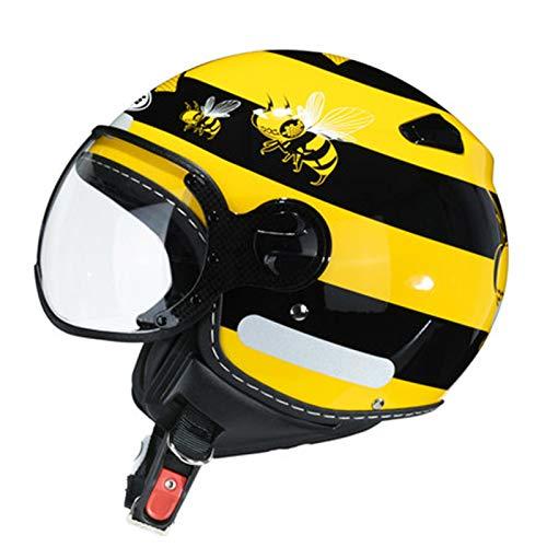 KOKOF Cascos de Motocicleta, Cascos de Bicicletas, Casco de Motocicleta eléctrica, Verano para Hombres y Medias para Mujer, Media Cara, luz, Casco General de Toda la Tempo Yellow-L