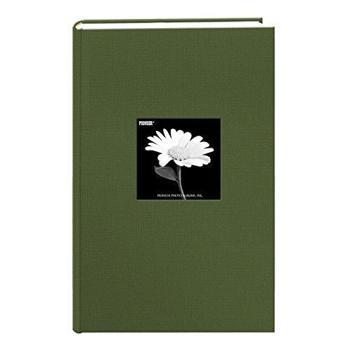 Fabric Frame Cover Photo Album 300 Pockets Hold 4x6 Photos, Herbal Green