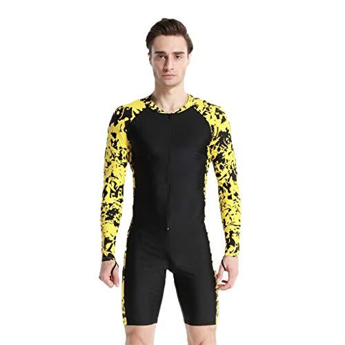 Muyise Homme Maillot De Bain One Piece Dive Skin Surf Lycra Manches Longues Ventes Natation Wading Imprimé Floral Respirant(Jaune,XXL)
