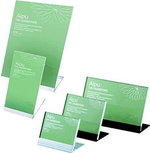 Tisch-Namensschild aus Acryl (PMMA) inkl. Aluminiumständer schwarz oder Silber Display Tischaufsteller (Silber, 83x65 mm Querformat)