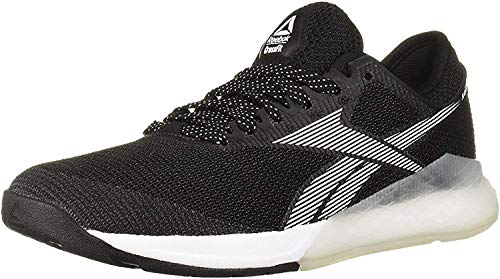 Reebok Women's Nano 9 Cross Trainer, Black/White/Silver, 7.5 M US