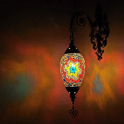 DXDUI Lámpara de Pared Vieja lámpara de luz del Mosaico de una Pared lámpara marroquí Mano Turco Tiffany lámpara de la Cama de Bronce de época de Estilo,mi