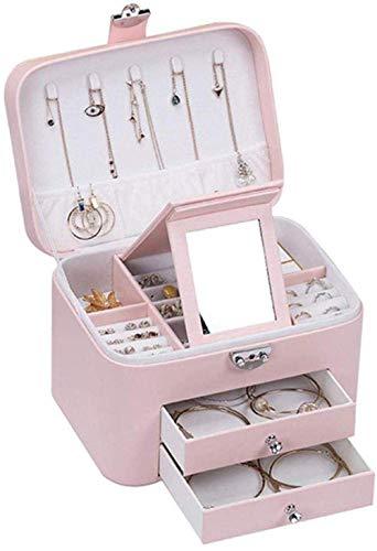 JOMOSIN SNH0216 Caja de almacenamiento de PU doble capa de gran capacidad, acabado de escritorio para pendientes, collares, anillos, relojes, cosméticos, color rosa