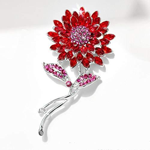 aolongwl Broches para las niñas señoras moda girasol broches para las mujeres cristal flor broche Pins para los hombres joyería de la planta rojo