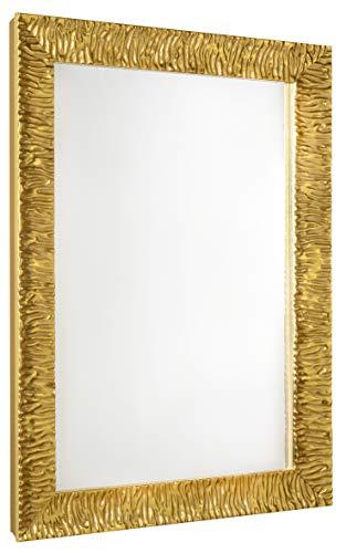 GaviaStore Specchio moderno da parete di altissima qualità – Julie - 70x50 cm - arred casa art home decor soggiorno modern sala paret camera bagno cucina ingresso (Oro)