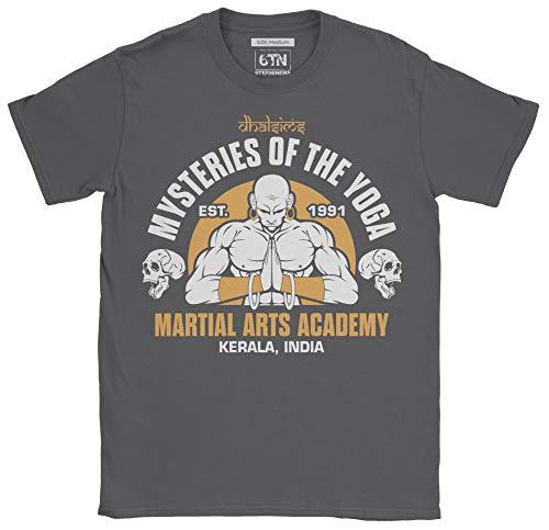 6TN Hombre Misterios de Dhalsims de la Academia de Artes Marciales de Yoga T Shirt (M, carbón)