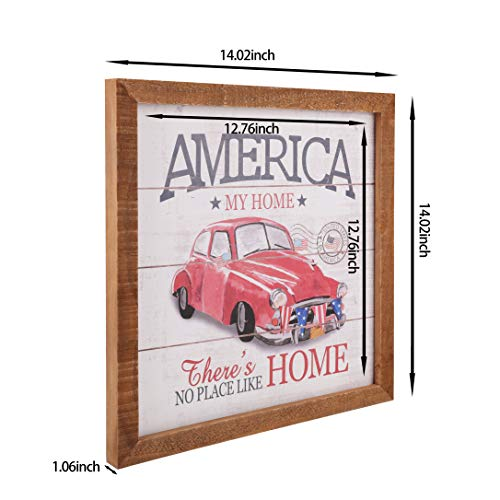 YEASL Interchangeable Seasonal Wall Decor Sign- Wooden Farmhouse Decoration Holiday picture frames for Spring,America 4th July decoration,Christmas(4 Design in One Frame)