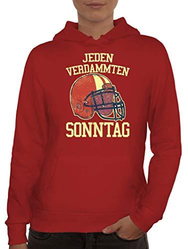 ShirtStreet American Football Gruppen Fan Damen Hoodie Frauen Kapuzenpullover Jeden verdammten Sonntag 2, Größe: S,Rot