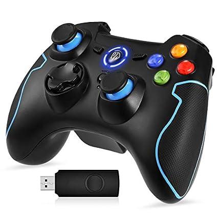 EasySMX Mando para PC, [Regalos Originales] Mando Inalámbrico PS3 Gamepad Wireless Compatible con Windows XP y Vista, Windows 7/8/8.1/10 y 10, PS3, Android y Operación Rango hasta 10M (Azul)