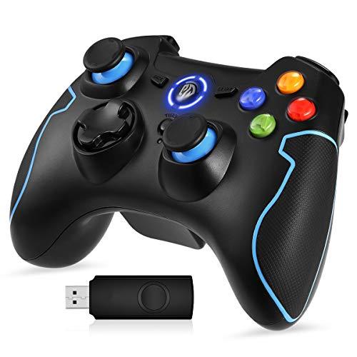 [Manette PS3 PC Sans Fil] EasySMX 9013 Manette PC sans Fil, Connectée avec USB, Manette PS3 avec Dual Shock, Compatible pour PC Windows 7/8/8.1/10, PS3, Android(via OTG et Simulateur)-(Noir+Bleu)