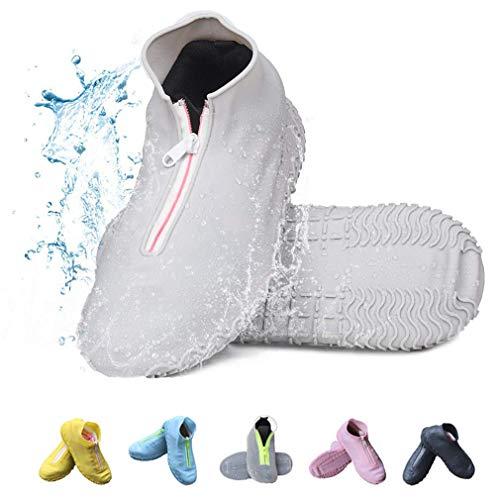 Amitafo Wiederverwendbare Silikon Wasserdicht Überschuhe rutschfeste Schuhüberzieher Tragbarer Silikon Regenüberschuhe Für Regen Schneetag Schlammige Straßen Für Kinder Damen und Herren (S, Grau)