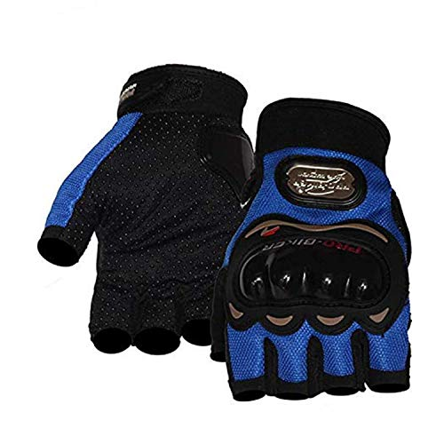 SunFlower Pro-Biker Gants de cyclisme courts en cuir pour sports de moto (BU, XL)
