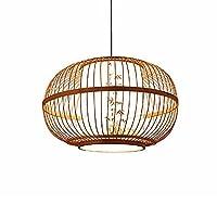 PJKDDM 手織りの竹のシャンデリア、レトロな竹のランタンペンダントランプ、天然籐のランプシェード、畳の寝室のキッチン装飾的な吊り下げライトの高さ調節可能