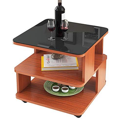 AI LI WEI Household Products/Furniture Square Lado de la Mesa de Cristal Templado Mesa de café móvil Sofá Mesita de Noche Tabla 2 Tabla de Almacenamiento Niveles (Color: B, Tamaño: 50x50x50CM)