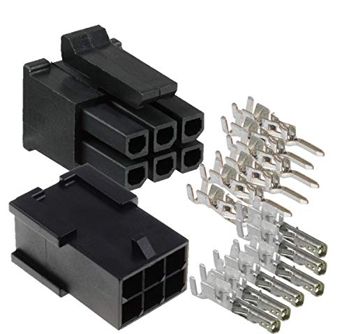 Molex Micro-Fit 3.0 Dual Row (6 Circuits) Male & Female Receptacle Plug, w/Terminal sockets, (Pack of 3 Complete Set)