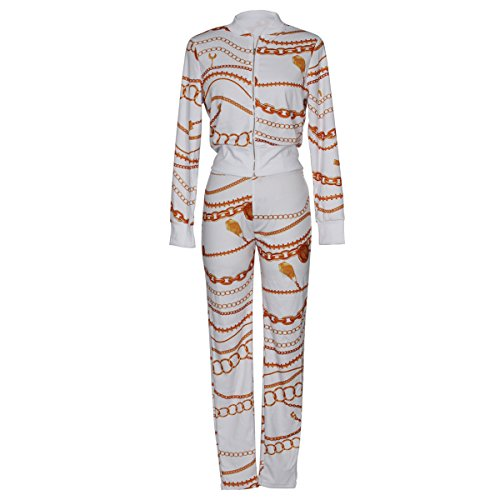 Dames bomberjack dames + lange broek tweedelig elegant bedrukt patroon mantel met rits slim fit set lente herfst lange mouwen staande kraag mode feestelijke kleding