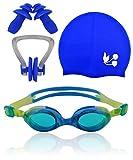 #DoYourSwimming Kinder-Schwimmbrille »Flippo« AF-1700s (blau/gelb) + Badekappe + Nasenclip/ 100% UV-Schutz + Antibeschlag/blau