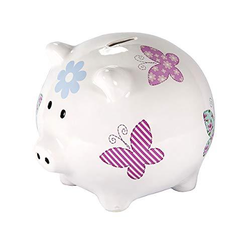 SPOTTED DOG GIFT COMPANY Großes Sparschwein XXL Spardose Weiß Keramik Schwein Piggy Bank mit farbenfrohem Schmetterlings Geschenk für Mädchen Kinder Erwachsener Teenager mit Box