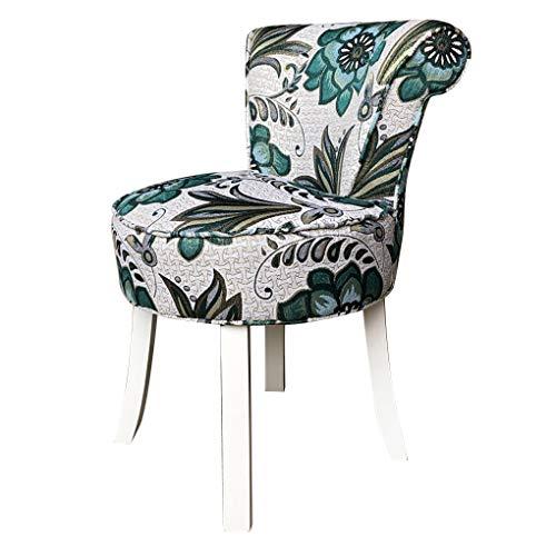 Bancos de tocador Taburete de tocador acolchado Shabby Chic, sillón con respaldo de ventilador con patas de madera, cómodo asiento de maquillaje de terciopelo, para sala de estar, dormitorio, restau