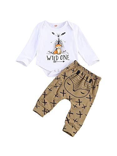 Babykleidung Satz Neugeborenes Baby Mädchen Jungen Niedlich Fuchs Druck Lange Ärmel T-Shirt Tops + Hosen Neugeborene Ausstattungs Kleidung Satz (Weiß, 3-6Monate)