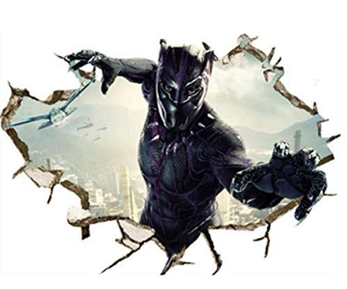 Etiqueta De La Pared, The Avengers Super Hero Black Panther 3D Broken Wall Vinyl Mural Stickers Kids Room Decoration Marvel Poster Wallpaper 70 * 50Cm