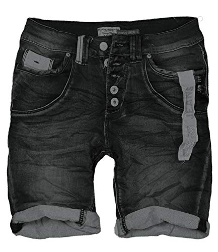 30 Farben Damen Jeans Bermuda Short by Eight2Nine Boyfriend Look tiefer Schritt Jeansbermuda mit Kontrastnähten Washed Kurze Hose (S, Black Duo)