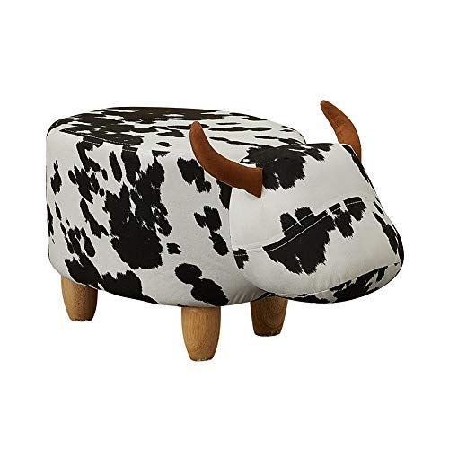 CLIPOP Cattle Footstool Animal Ottoman Footstools and Pouffes,Low Pouffe Sofa Stool for Kids with Wooden Legs. (Cattle-A)