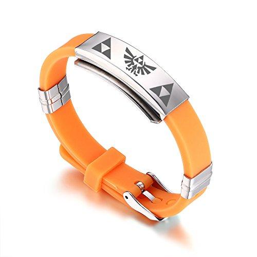 VNOX - Pulsera Ajustable de Silicona para Hombre, diseño de la Leyenda de Zelda, Color Naranja
