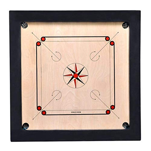 JTC Matte Finish Hard Wooden Ply Carrom Board with Coins Striker and Carrom 36 INCH