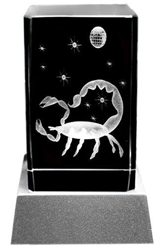 Kaltner Präsente Stimmungslicht LED Kerze/Kristall Glasblock / 3D-Laser-Gravur Sternzeichen Skorpion