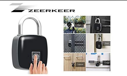 Zeerkeer Waterdichte Draagbare Keyless Vingerafdruk Hangslot Ondersteunt USB Opladen voor Bagage/Golf Tassen/Handtassen/School kluisjes/Gym lockers