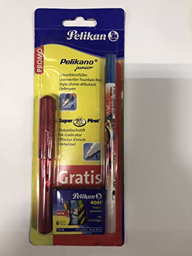 Pelikan 903609 - Schulfüller Pelikano Junior P67A mit 1 Tintenlöscher in F mit 6 Tintenpatronen, in rot oder blau erhältlich
