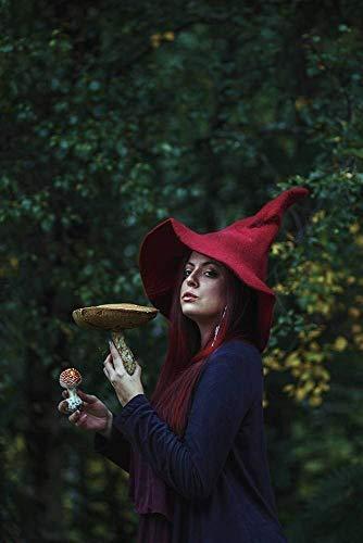 Sombrero de bruja rojo de lana wicca, disfraz cosplay.