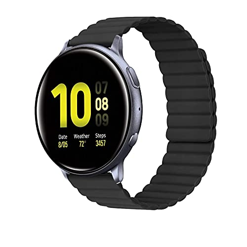 AiMok 20mm Cinturino Compatibile con Samsung Galaxy Watch 4/4 Classic/Active/Active 2 40/44 mm, Silicone Magnetico Sport Ricambio Cinturini per Samsung Galaxy Watch 3 41mm/Watch 42mm/Gear Sport - Nero