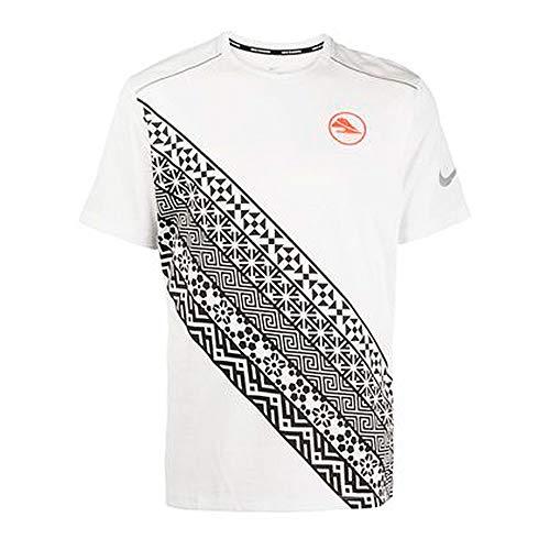 Nike M Nk DF Miler SS Top Ekiden T-Shirt, Uomo, Summit White/Hyper Crimson, S