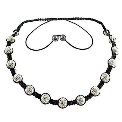 Percy - Tresor Paris Necklace - White - 10mm - 17'' Crystal & Magnetite - Black Cord - Ladies