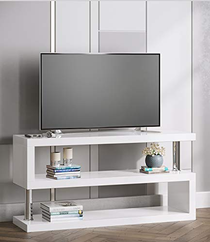 Manchester Furniture Supplies Miami High Gloss Contemporary Designer TV Stand & Media Unit (White)