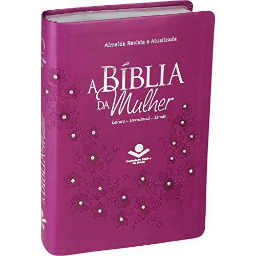 A Bíblia da Mulher - Couro sintético Vinho com pedras Tamanho Médio: Almeida Revista e Atualizada (ARA)