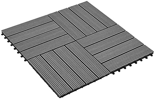 Suelo Entrelazado Tarimas de jardín 11 Piezas Juego de baldosas para terrazas de Patio 30 x 30 cm Gris