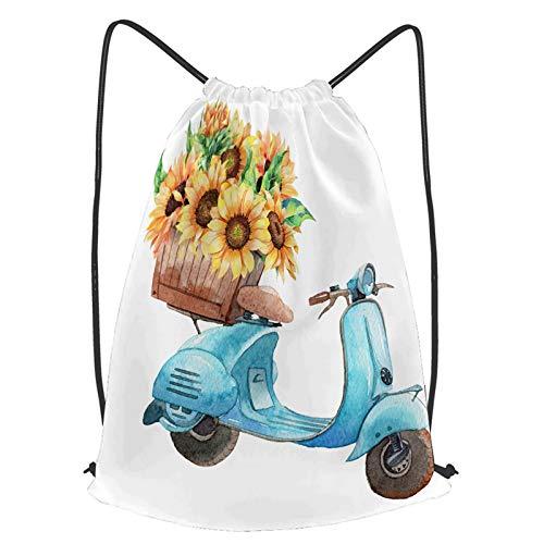 YMWEI Impermeable Bolsa de Cuerdas Saco de Gimnasio dibujado a mano ilustración acuarela moto vintage Deporte Mochila para Playa Viaje Natación
